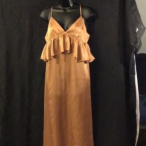 H&M Maxi Satiny Auburn Look Dress Size 14